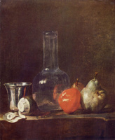 Jean Baptiste Simeon Chardin. Still life with glass flask and fruit