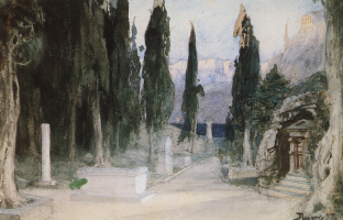 """Vasily Dmitrievich Polenov. Cemetery among the cypress trees. Sketch for the Opera by K. Gluck's """"Orpheus and Eurydice"""""""