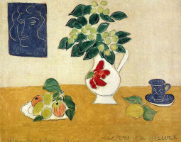 Henri Matisse. Still life with a vase, fruit and a cup