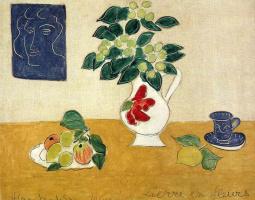Анри Матисс. Натюрморт с вазой, фруктами и чашкой