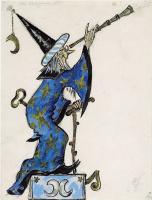 Мстислав Валерьянович Добужинский. Эскиз костюма астронома к балету Коппелия. 1956  графитный карандаш,  золото