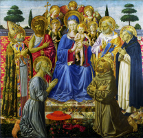 Virgin with child enthroned among angels and saints