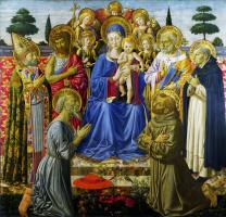 Беноццо Гоццоли. Дева с младенцем на троне среди ангелов и святых