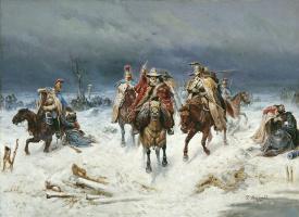 Bogdan Pavlovich Willewalde. Crossing the Berezina. 1891