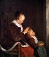 Герард Терборх. Мать расчесывает волосы ребенку