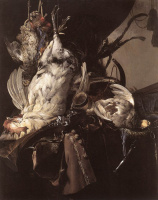 Still life with dead birds and hunting weapons