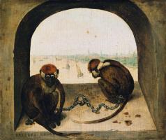 Питер Брейгель Старший. Две обезьяны на цепи