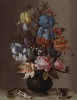 Балтазар ван дер Аст. Натюрморт с тюльпанами, розами, ирисами и другими цветами с ящерицей, гусеницей и ракушками