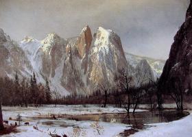 Альберт Бирштадт. Соборные скалы зимой, Йосемити, Калифорния