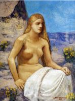 Пьер Сесиль Пюви де Шаванн. Сидящая девушка с длинными волосами