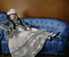 Portrait of Mrs Manet on a blue sofa