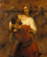 Rembrandt Harmenszoon van Rijn. Jacob wrestling with the angel