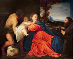 Titian Vecelli. Madonna and Child with John the Baptist and the Monk
