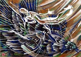 Владимир Катаев. «Четыре пятнадцать. Эпизод третий», Х3/М, А/Р, 50 Х 72 см, 2014