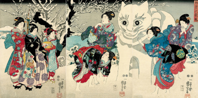 Utagawa Kuniyoshi. Triptych: the Snow cat