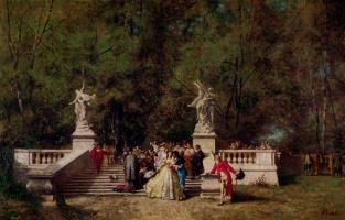 Фердинанд Гейльбют. Прием гостей в саду