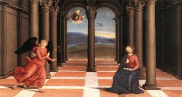 Raphael Sanzio. The Annunciation. The Altar Of The Oddi. Predella