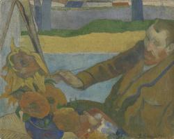 Paul Gauguin. Portrait of Vincent van Gogh painting sunflowers