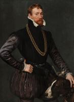 Антонис ван Дасхорст Мор. Портрет джентльмена с охотничьей собакой