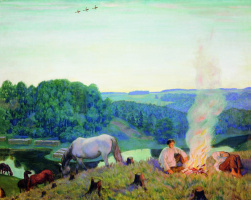 Boris Mikhailovich Kustodiev. Fire. Night