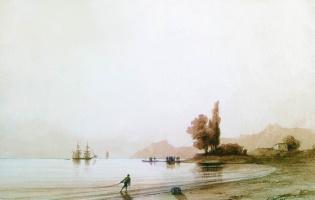 Ivan Aivazovsky. Views of the rocky coast from the sea