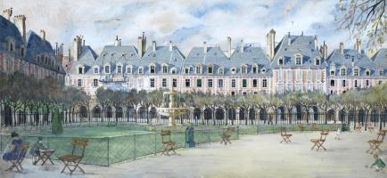 Александр Борисович Серебряков. Париж, Площадь Вогезов. 1926