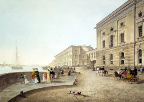 Karl Petrovich Beggrov. View of the Neva embankment near the building of the Old Hermitage