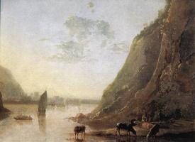 Альберт Кейп. Берег реки с коровами