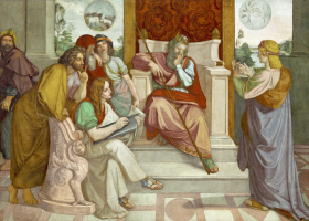 Иоганн Фридрих Овербек. Фрески из Дома Бартольди - Иосиф перед фараоном. 1816-1817   деталь