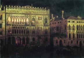 Дворец Ка д'Ордо в Венеции при луне