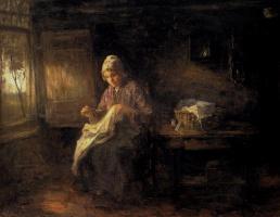 Йозеф Исраэлс. Женщина за шитьем