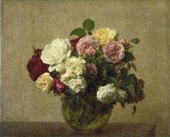 Анри Фантен-Латур. Розы в вазе