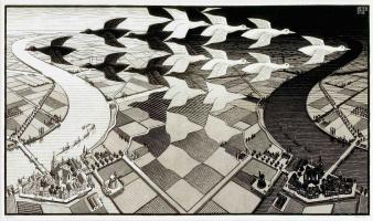 Maurits Cornelis Escher. Day and night