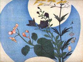 Утагава Хиросигэ. Осенние цветы перед полнолунием