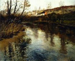 Frits Thaulow. A river landscape.
