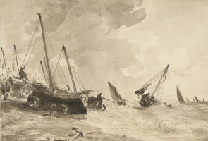 Boats on the shore in a storm, Brighton