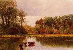 Альберт Бирштадт. Пейзаж с водоемом и коровами