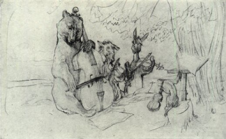 Valentin Aleksandrovich Serov. Quartet. Illustration to the fable of Krylov