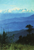 The Himalayas in the evening. Etude