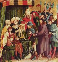 Ханс Мульчер. Алтарь Страстей из Вурцаха, правая внутренняя створка, сцена вверху. Христос перед Пилатом