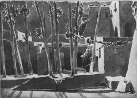 Карл Эдуард Фердинанд Блехен. Деревья и дома в Амальфи