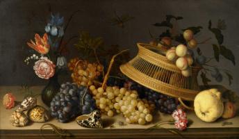 Балтазар ван дер Аст. Натюрморт с цветами в вазе, перевернутой корзиной, фруктами и раковинами