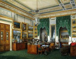 Эдуард Петрович Гау. Виды залов Зимнего дворца. Кабинет императора Александра II