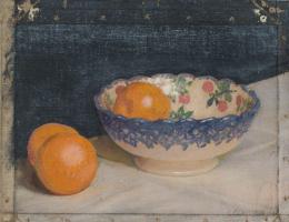 Джордж Клаузен. Эскиз натюрморта с расписной чашей и апельсинами