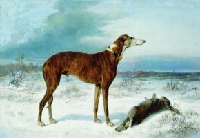 Nikolay Egorovich Sverchkov. The dog and the hare.