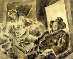 Артуро Соуто. Полуобнаженная женщина и мужчина в шляпе