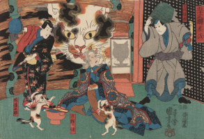 "Utagawa Kuniyoshi. The Kabuki actors and the spirit of the old cat in the play ""Onoe Juice, Dahanese"""
