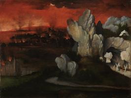 Иоахим Патинир. Пейзаж с горящими Содомом и Гоморрой