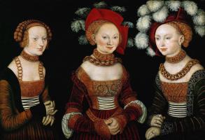 Лукас Кранах Старший. Портрет Саксонских принцесс Сидонии, Амелии и Сибиллы