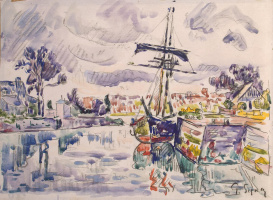 Paul Signac. Sailboat at the dock